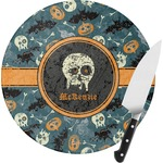 Vintage / Grunge Halloween Round Glass Cutting Board (Personalized)