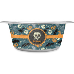 Vintage / Grunge Halloween Stainless Steel Pet Bowl (Personalized)