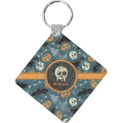 Vintage / Grunge Halloween Diamond Plastic Keychain w/ Name or Text