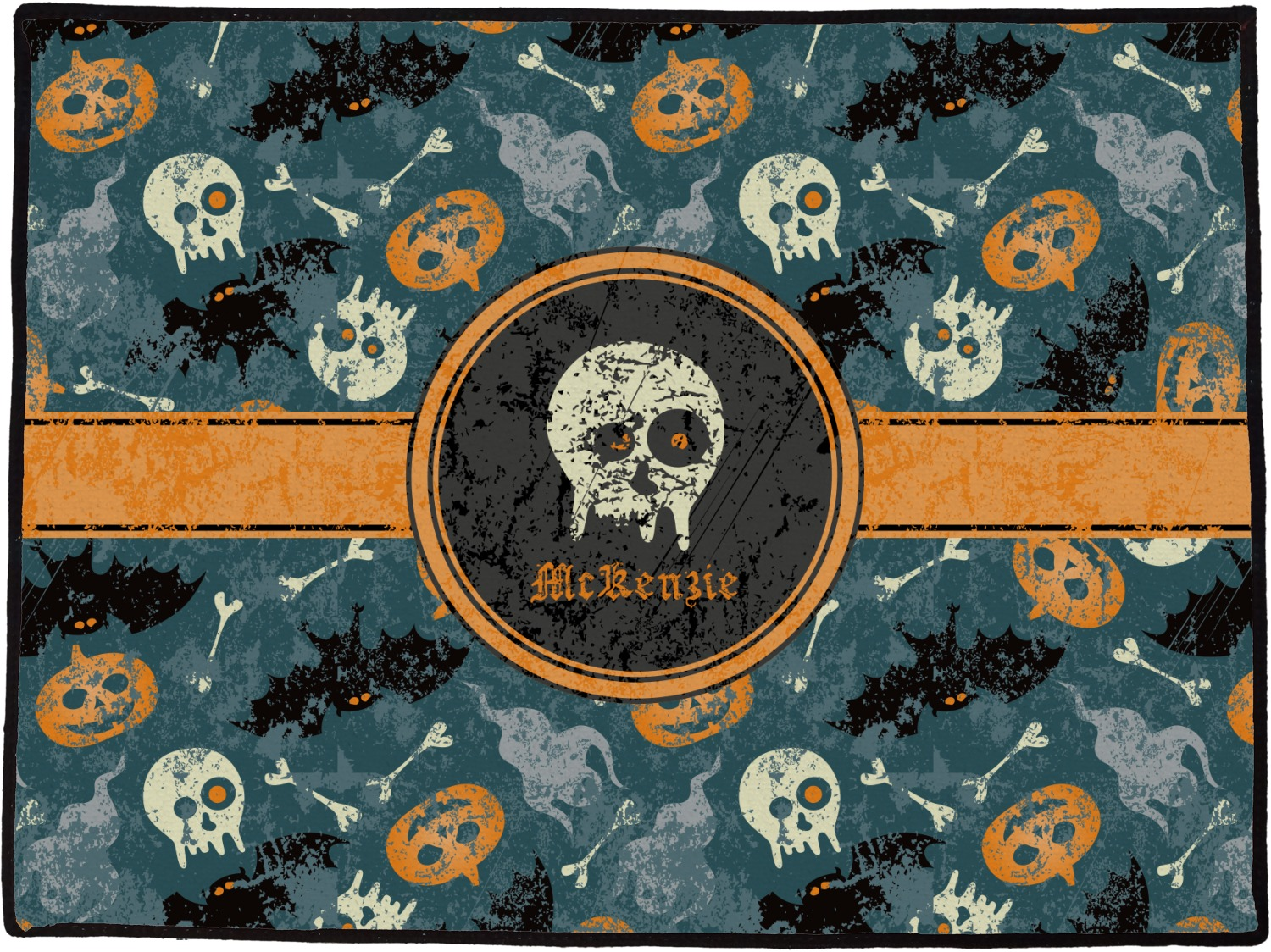 vintage / grunge halloween door mat (personalized) - youcustomizeit