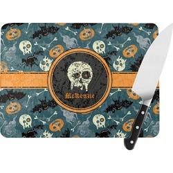 Vintage / Grunge Halloween Rectangular Glass Cutting Board (Personalized)