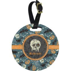 Vintage / Grunge Halloween Round Luggage Tag (Personalized)