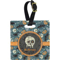 Vintage / Grunge Halloween Square Luggage Tag (Personalized)