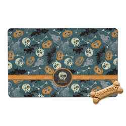 Vintage / Grunge Halloween Pet Bowl Mat (Personalized)