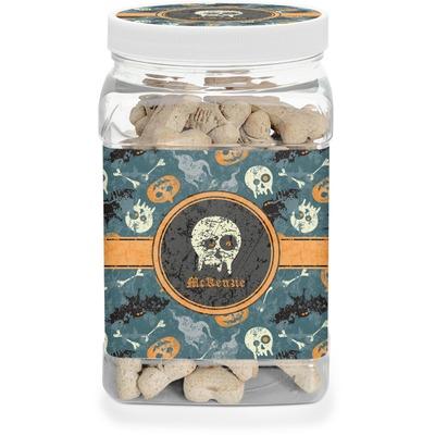 Vintage / Grunge Halloween Dog Treat Jar (Personalized)