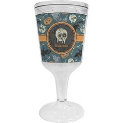 Vintage / Grunge Halloween Wine Tumbler - 11 oz Plastic (Personalized)