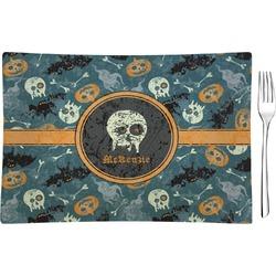 Vintage / Grunge Halloween Glass Rectangular Appetizer / Dessert Plate (Personalized)