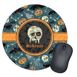 Vintage / Grunge Halloween Round Mouse Pad (Personalized)
