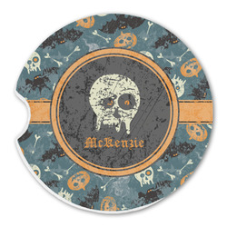 Vintage / Grunge Halloween Sandstone Car Coasters (Personalized)