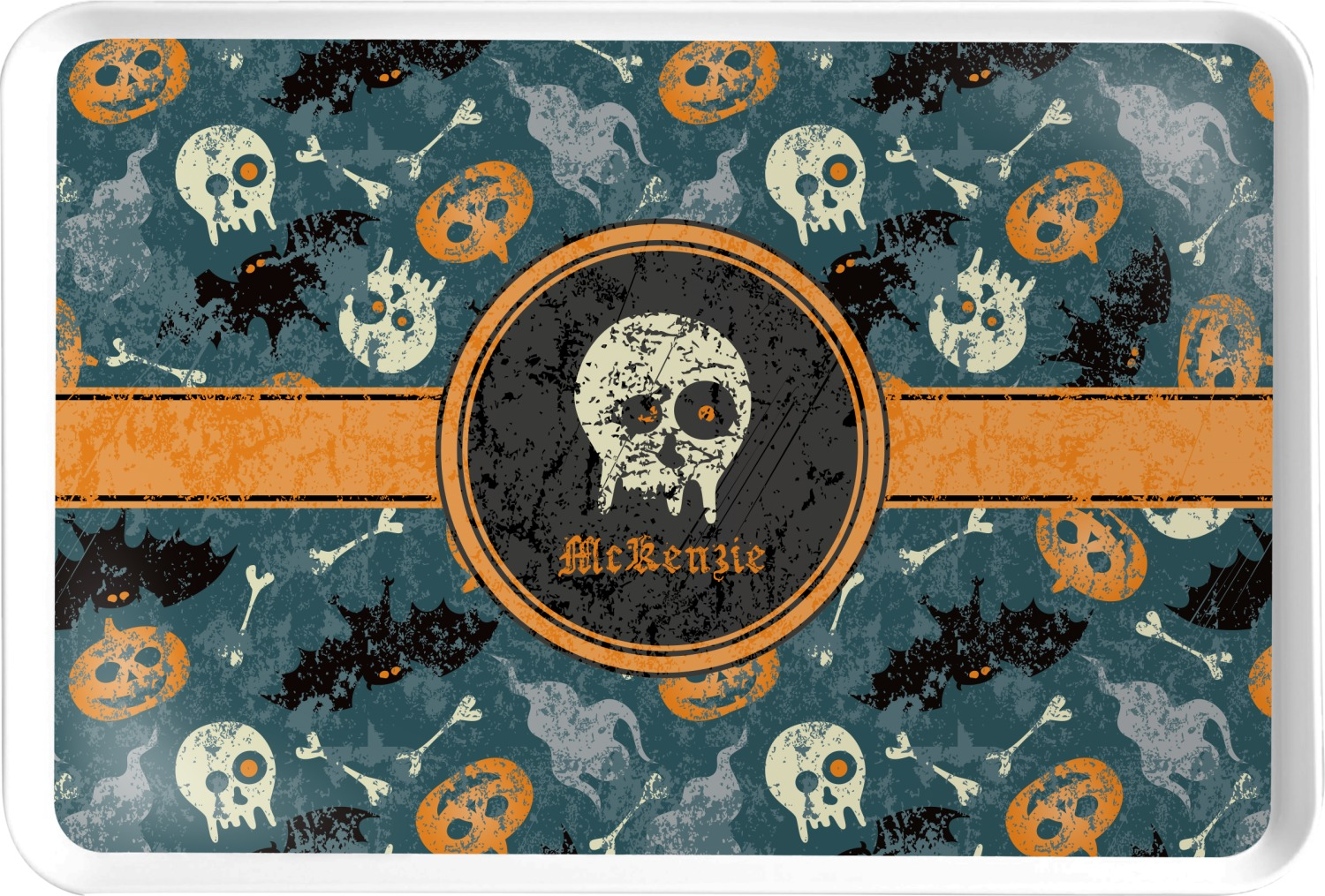 vintage grunge halloween serving tray personalized