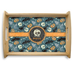 Vintage / Grunge Halloween Natural Wooden Tray (Personalized)