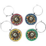 Vintage / Grunge Halloween Wine Charms (Set of 4) (Personalized)