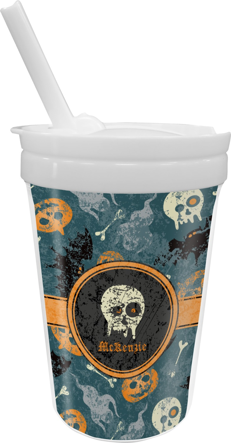 vintage grunge halloween sippy cup with straw personalized