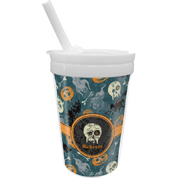 Vintage / Grunge Halloween Sippy Cup with Straw (Personalized)