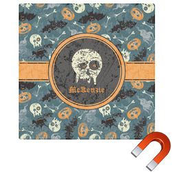Vintage / Grunge Halloween Square Car Magnet (Personalized)