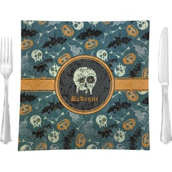 """Vintage / Grunge Halloween 9.5"""" Glass Square Lunch / Dinner Plate- Single or Set of 4 (Personalized)"""
