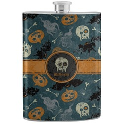 Vintage / Grunge Halloween Stainless Steel Flask (Personalized)