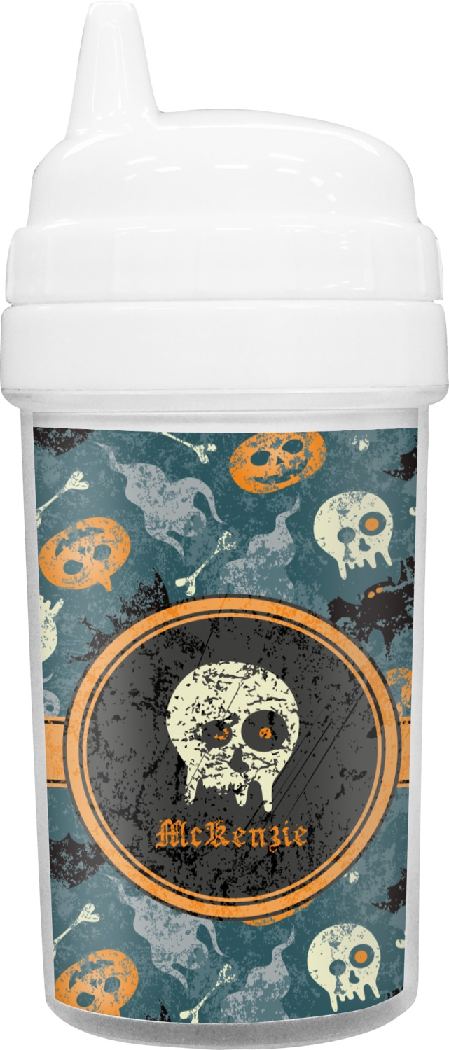 vintage grunge halloween toddler sippy cup personalized