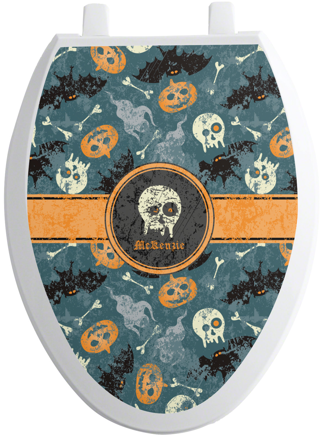 vintage grunge halloween toilet seat decal elongated. Black Bedroom Furniture Sets. Home Design Ideas