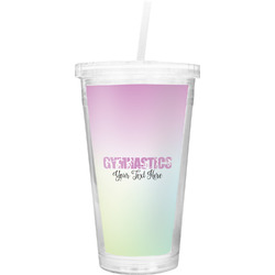 Gymnastics with Name/Text Double Wall Tumbler with Straw (Personalized)