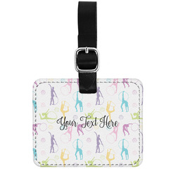 Gymnastics with Name/Text Genuine Leather Luggage Tag