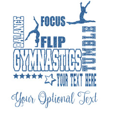 Gymnastics with Name/Text Glitter Sticker Decal - Custom Sized (Personalized)