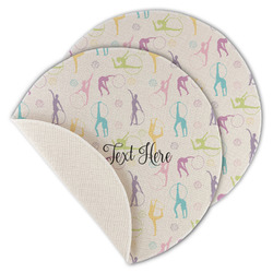 Gymnastics with Name/Text Round Linen Placemat