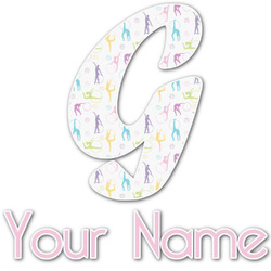 Gymnastics with Name/Text Name & Initial Decal - Custom Sized (Personalized)