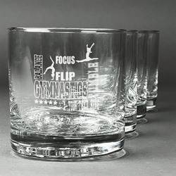 Gymnastics with Name/Text Whiskey Glasses (Set of 4) (Personalized)