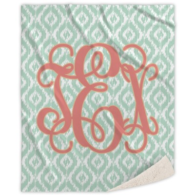 Monogram Sherpa Throw Blanket (Personalized)