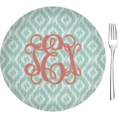 "Monogram Glass Appetizer / Dessert Plate 8"" (Personalized)"