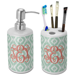 Monogram Ceramic Bathroom Accessories Set