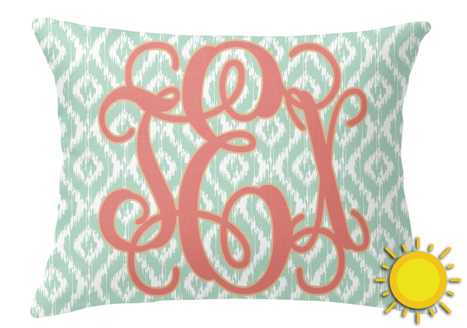 Monogram Outdoor Throw Pillow (Rectangular) (Personalized