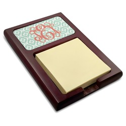 Monogram Red Mahogany Sticky Note Holder (Personalized)