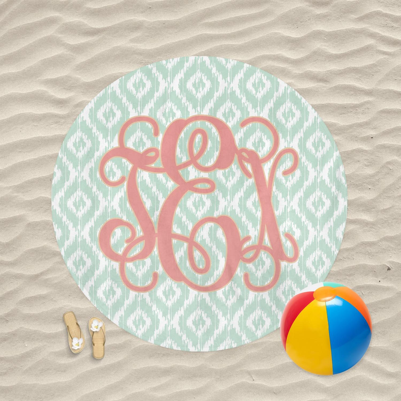 Monogram Round Beach Towel Personalized Youcustomizeit