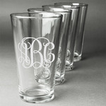 Monogram Beer Glasses (Set of 4) (Personalized)