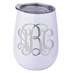 Monogram Stemless Wine Tumbler - 5 Color Choices - Stainless Steel  (Personalized)