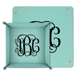 Monogram Teal Faux Leather Valet Tray
