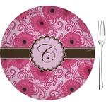 "Gerbera Daisy Glass Appetizer / Dessert Plates 8"" - Single or Set (Personalized)"