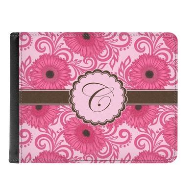 Gerbera Daisy Genuine Leather Men's Bi-fold Wallet (Personalized)