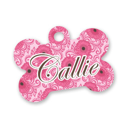 Gerbera Daisy Bone Shaped Dog Tag (Personalized)