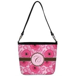Gerbera Daisy Bucket Bag w/ Genuine Leather Trim (Personalized)