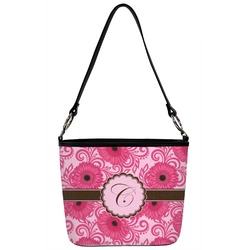 Gerbera Daisy Bucket Bag w/ Genuine Leather Trim (Personalized)