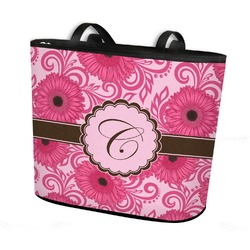 Gerbera Daisy Bucket Tote w/ Genuine Leather Trim (Personalized)