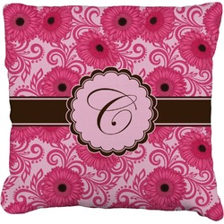 Gerbera Daisy Faux-Linen Throw Pillow (Personalized)