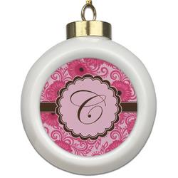 Gerbera Daisy Ceramic Ball Ornament (Personalized)
