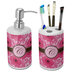 Gerbera Daisy Ceramic Bathroom Accessories Set (Personalized)