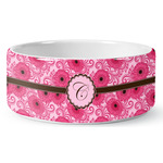 Gerbera Daisy Ceramic Dog Bowl (Personalized)