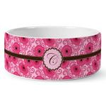 Gerbera Daisy Ceramic Pet Bowl (Personalized)