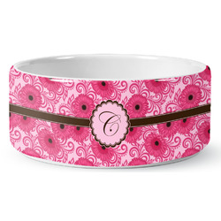 Gerbera Daisy Ceramic Pet Bowl (Personalized)